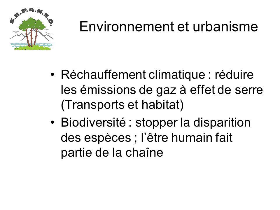 Environnement et urbanisme Réchauffement climatique : réduire les émissions de gaz à effet de serre (Transports et habitat) Biodiversité : stopper la disparition des espèces ; lêtre humain fait partie de la chaîne
