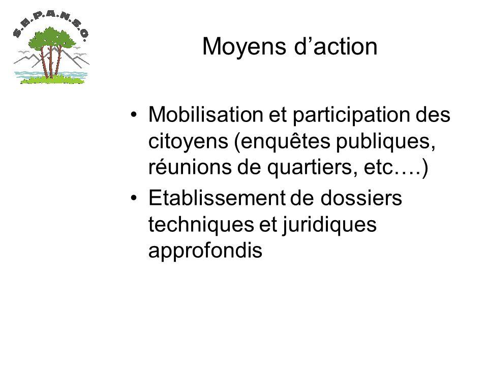 Moyens daction Mobilisation et participation des citoyens (enquêtes publiques, réunions de quartiers, etc….) Etablissement de dossiers techniques et juridiques approfondis