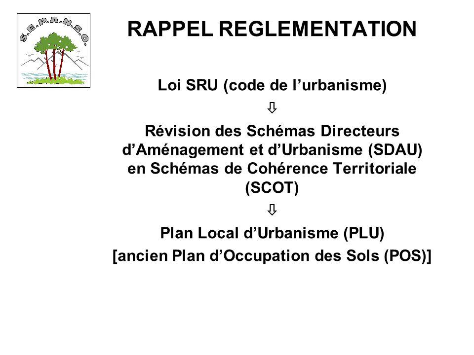 RAPPEL REGLEMENTATION Loi SRU (code de lurbanisme) Révision des Schémas Directeurs dAménagement et dUrbanisme (SDAU) en Schémas de Cohérence Territoriale (SCOT) Plan Local dUrbanisme (PLU) [ancien Plan dOccupation des Sols (POS)]