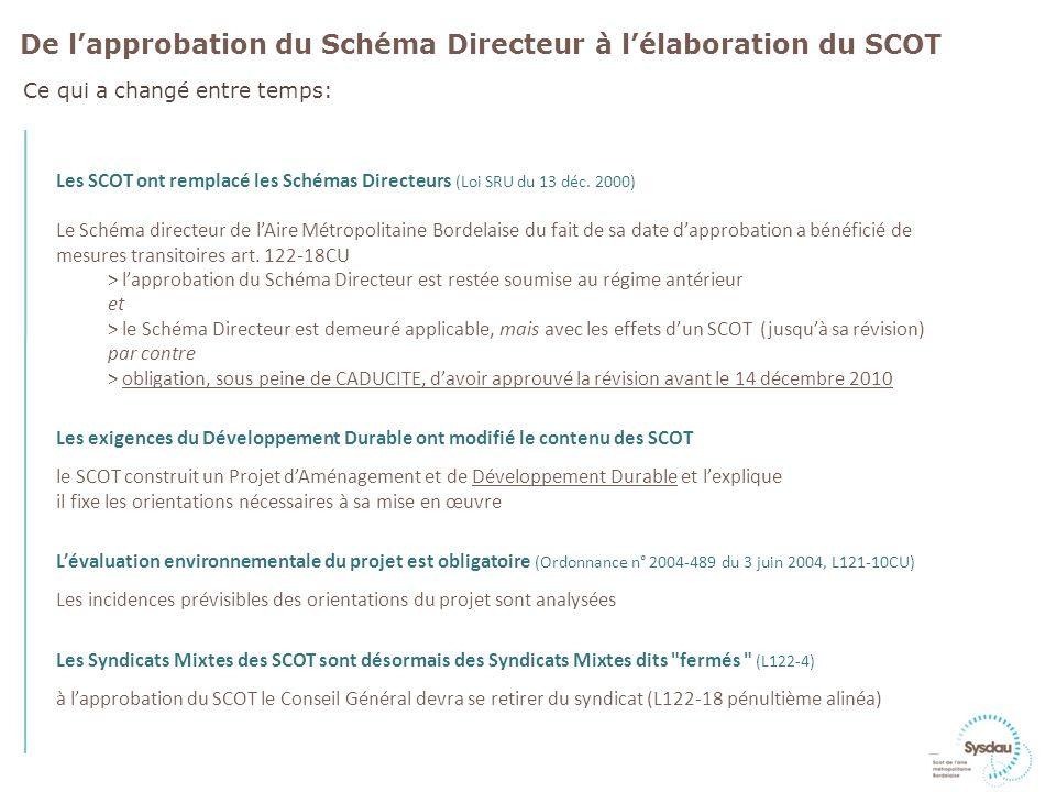 Les SCOT ont remplacé les Schémas Directeurs (Loi SRU du 13 déc.