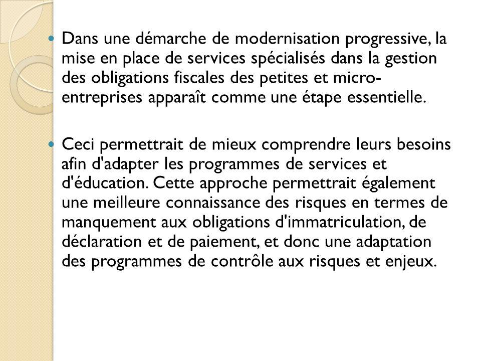 Dans une démarche de modernisation progressive, la mise en place de services spécialisés dans la gestion des obligations fiscales des petites et micro