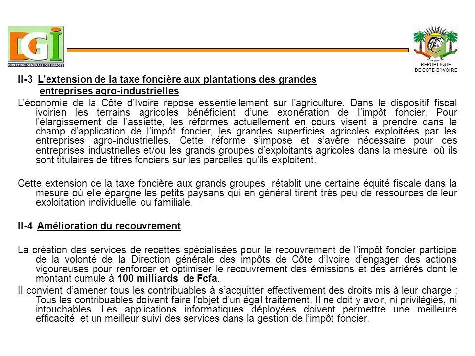II-3 Lextension de la taxe foncière aux plantations des grandes entreprises agro-industrielles Léconomie de la Côte dIvoire repose essentiellement sur lagriculture.