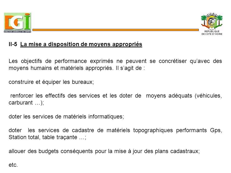 II-5 La mise a disposition de moyens appropriés Les objectifs de performance exprimés ne peuvent se concrétiser quavec des moyens humains et matériels appropriés.