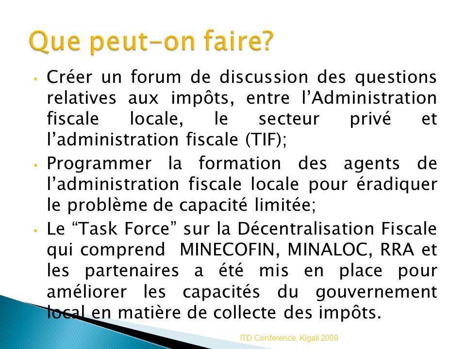 Créer un forum de discussion des questions relatives aux impôts, entre lAdministration fiscale locale, le secteur privé et ladministration fiscale (TI
