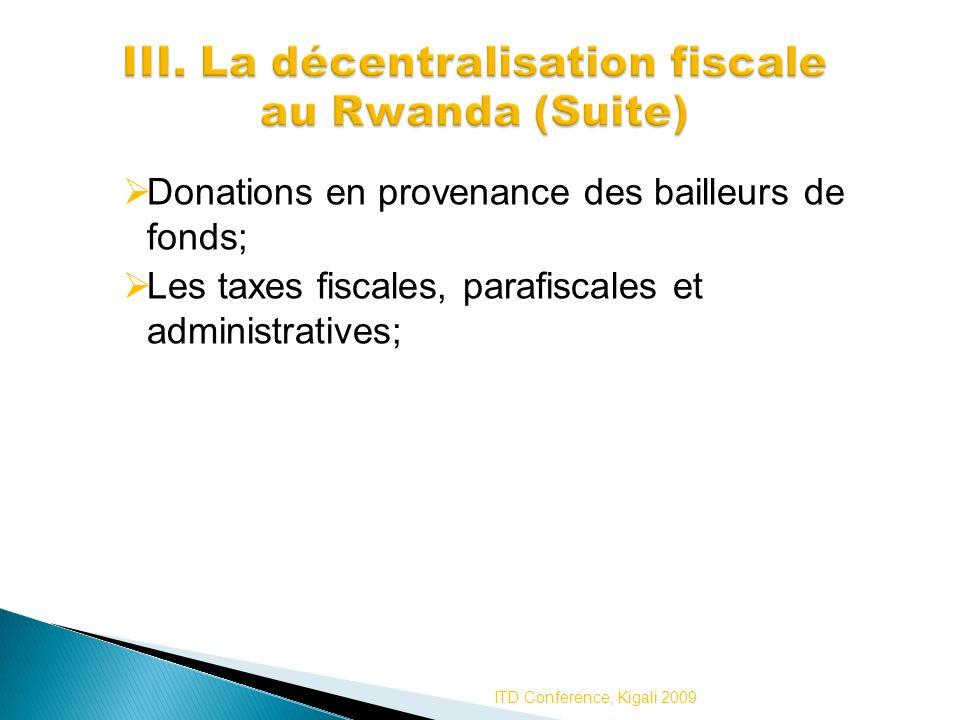Donations en provenance des bailleurs de fonds; Les taxes fiscales, parafiscales et administratives; ITD Conference, Kigali 2009