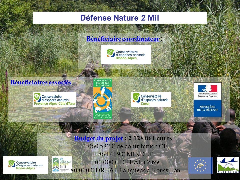 Bénéficiaires associés : Défense Nature 2 Mil Bénéficiaire coordinateur : Budget du projet : 2 128 061 euros - 1 060 532 de contribution CE - 864 409 MINDEF - 100 000 DREAL Corse - 80 000 DREAL Languedoc-Roussillon