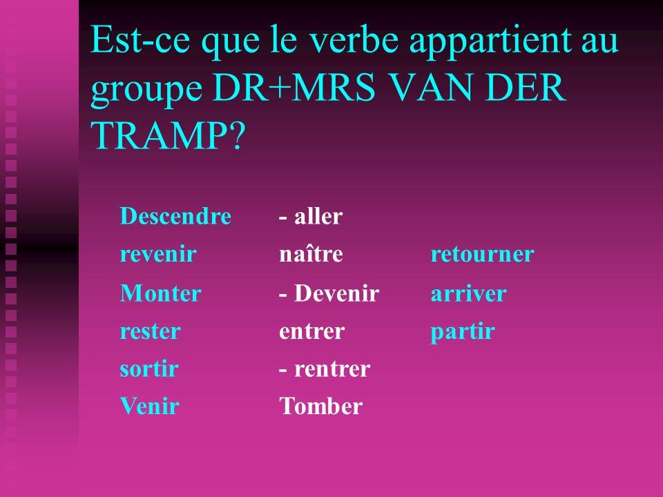 Est-ce que le verbe appartient au groupe DR+MRS VAN DER TRAMP.