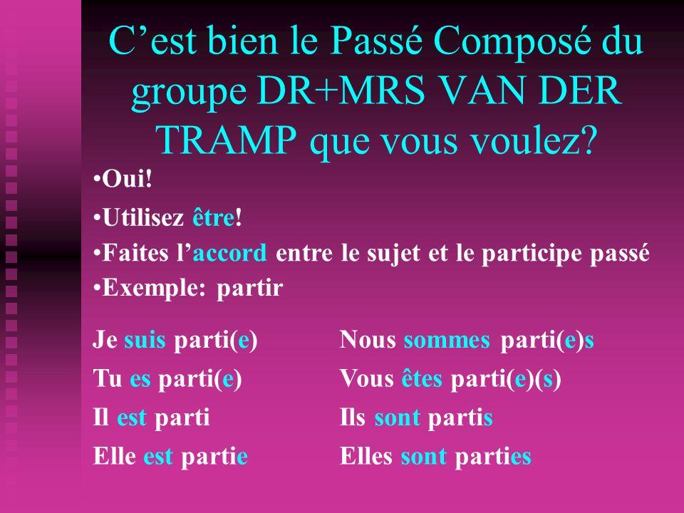 Cest bien le Passé Composé du groupe DR+MRS VAN DER TRAMP que vous voulez.