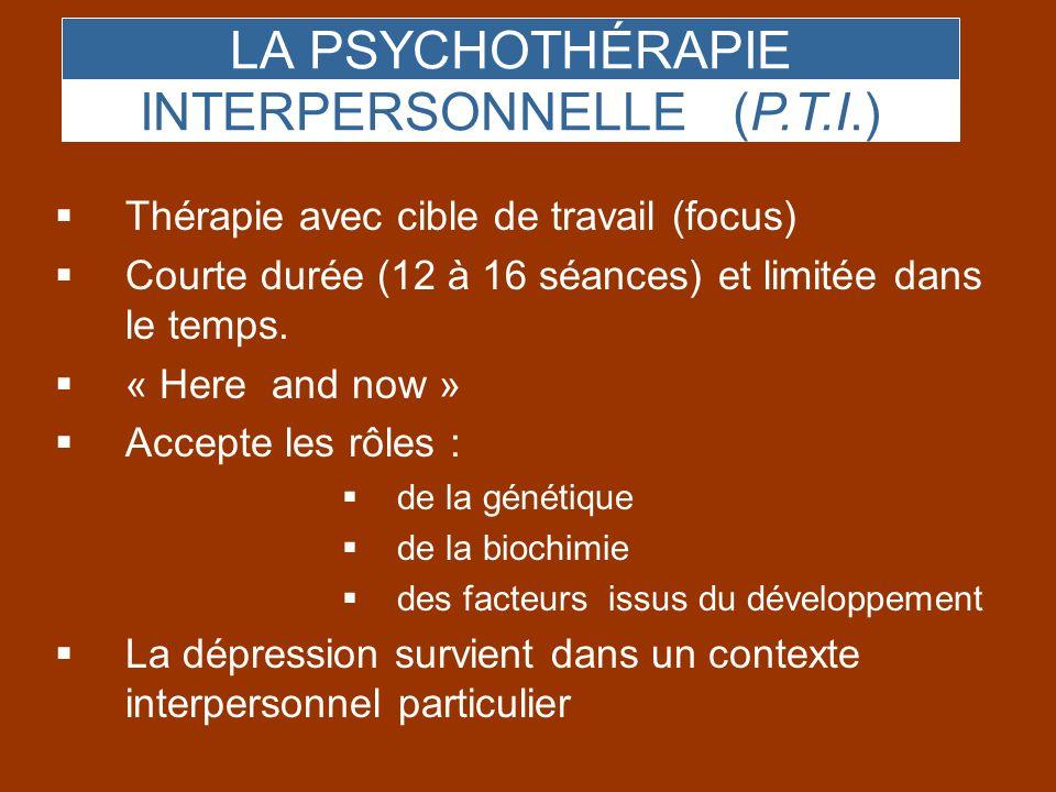 LA PSYCHOTHÉRAPIE INTERPERSONNELLE (P.T.I.) Thérapie avec cible de travail (focus) Courte durée (12 à 16 séances) et limitée dans le temps. « Here and