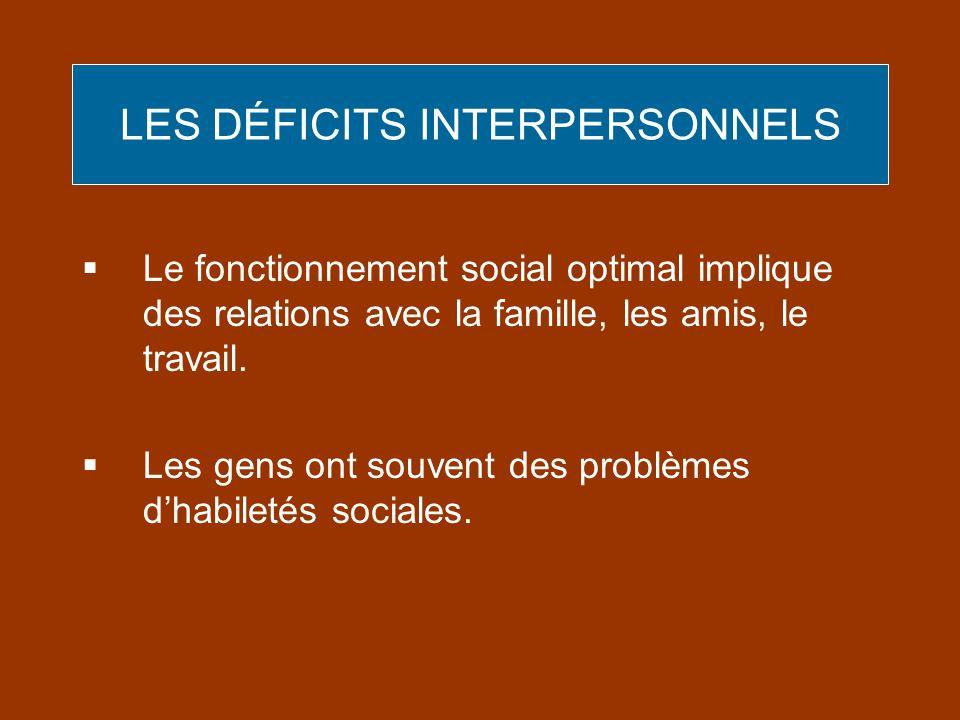 LES DÉFICITS INTERPERSONNELS Le fonctionnement social optimal implique des relations avec la famille, les amis, le travail. Les gens ont souvent des p