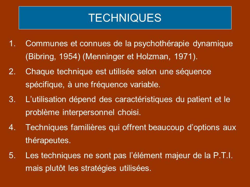 TECHNIQUES 1.Communes et connues de la psychothérapie dynamique (Bibring, 1954) (Menninger et Holzman, 1971). 2.Chaque technique est utilisée selon un
