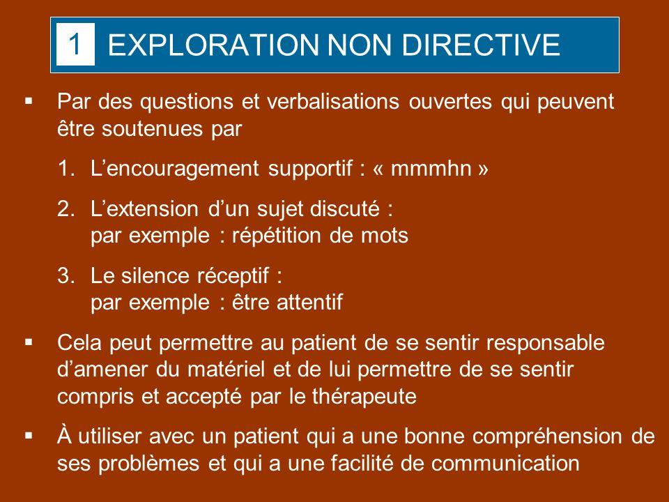 EXPLORATION NON DIRECTIVE Par des questions et verbalisations ouvertes qui peuvent être soutenues par 1.Lencouragement supportif : « mmmhn » 2.Lextens