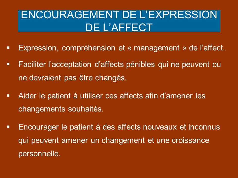 ENCOURAGEMENT DE LEXPRESSION DE LAFFECT Expression, compréhension et « management » de laffect. Faciliter lacceptation daffects pénibles qui ne peuven