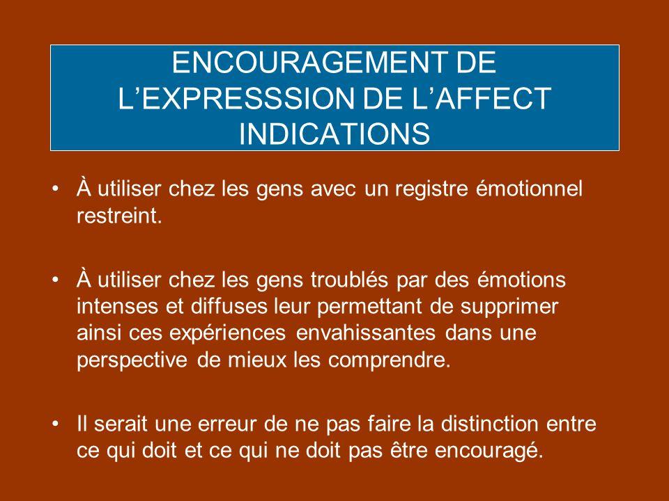 ENCOURAGEMENT DE LEXPRESSSION DE LAFFECT INDICATIONS À utiliser chez les gens avec un registre émotionnel restreint. À utiliser chez les gens troublés