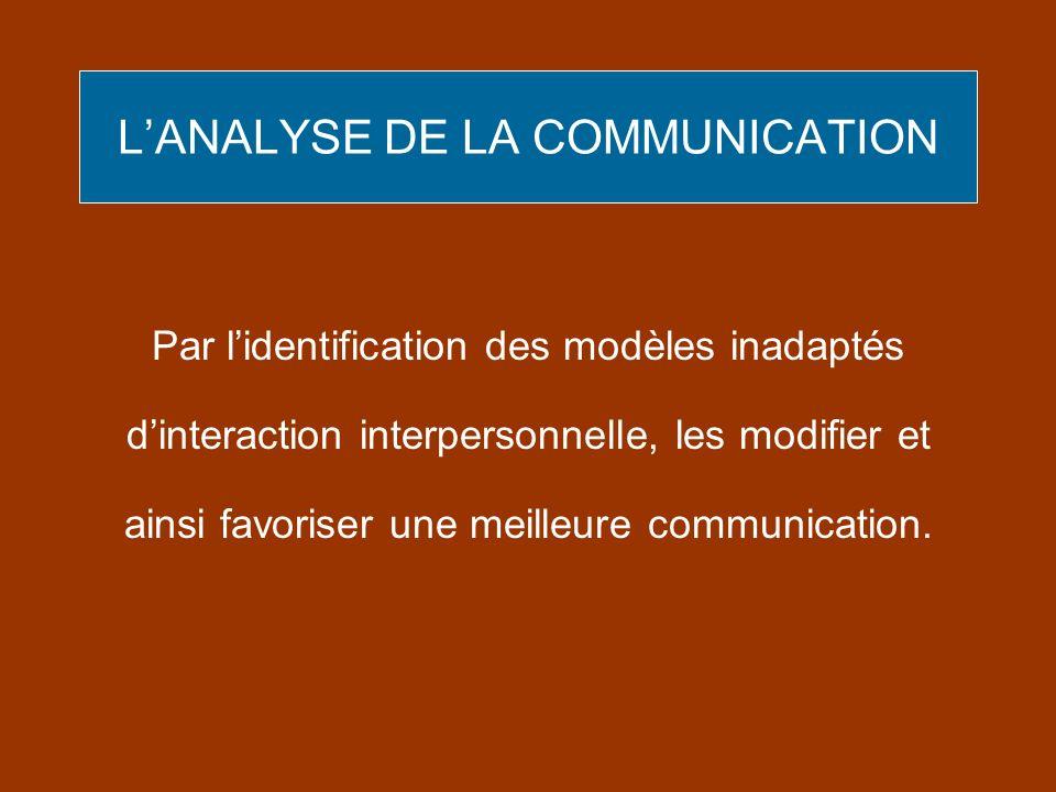 LANALYSE DE LA COMMUNICATION Par lidentification des modèles inadaptés dinteraction interpersonnelle, les modifier et ainsi favoriser une meilleure co