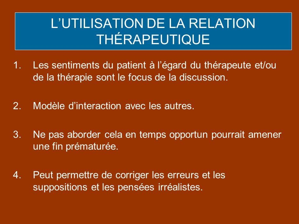 1.Les sentiments du patient à légard du thérapeute et/ou de la thérapie sont le focus de la discussion. 2.Modèle dinteraction avec les autres. 3.Ne pa