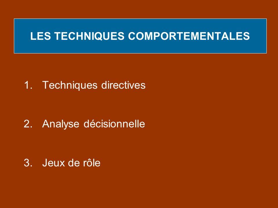 LES TECHNIQUES COMPORTEMENTALES 1.Techniques directives 2.Analyse décisionnelle 3.Jeux de rôle