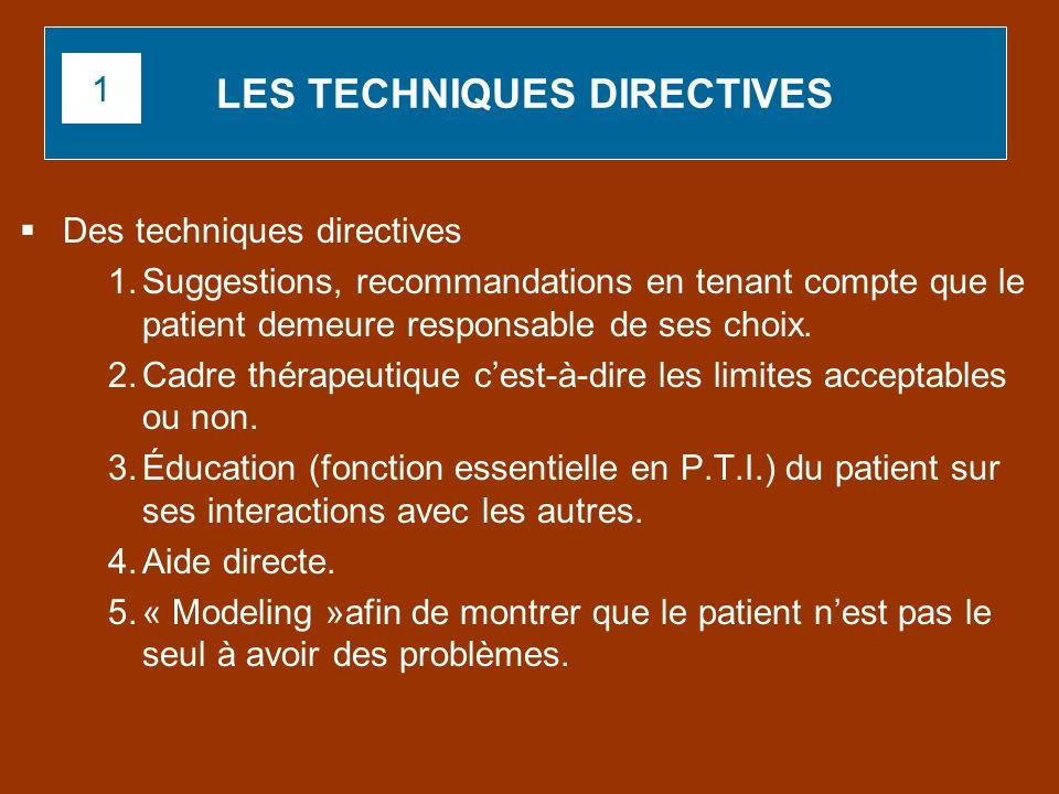 Des techniques directives 1.Suggestions, recommandations en tenant compte que le patient demeure responsable de ses choix. 2.Cadre thérapeutique cest-