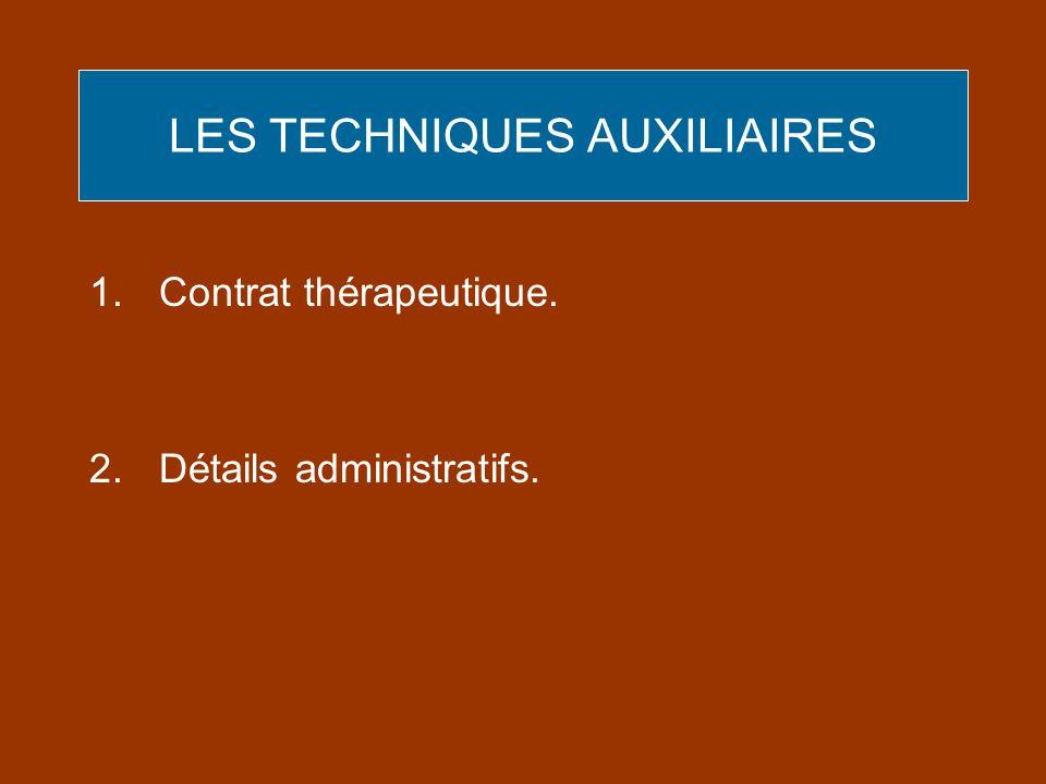 LES TECHNIQUES AUXILIAIRES 1.Contrat thérapeutique. 2.Détails administratifs.
