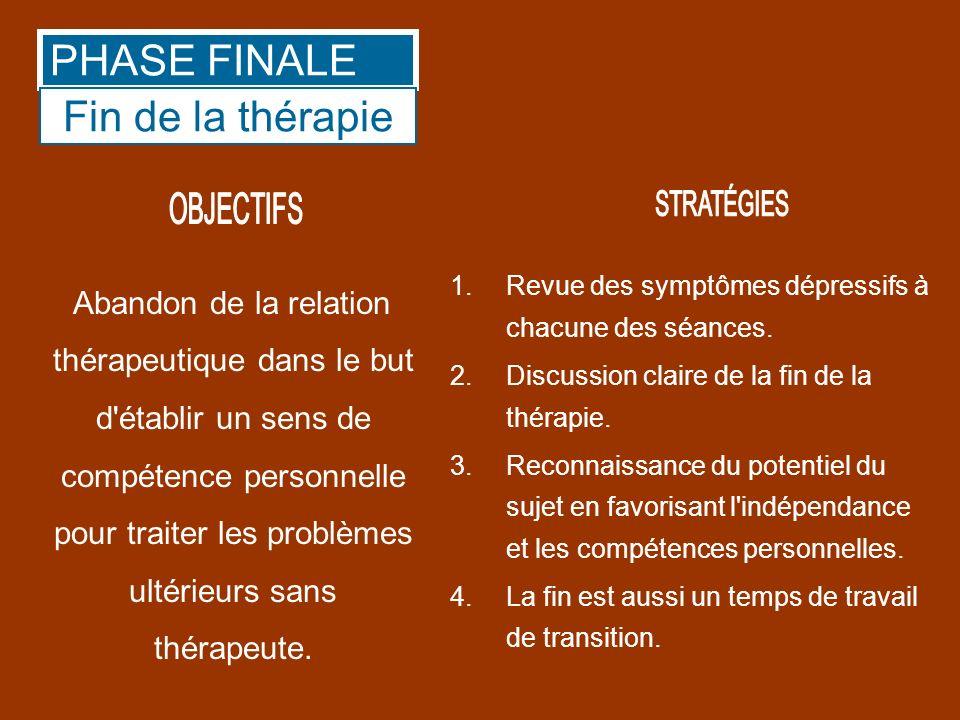 Abandon de la relation thérapeutique dans le but d'établir un sens de compétence personnelle pour traiter les problèmes ultérieurs sans thérapeute. 1.