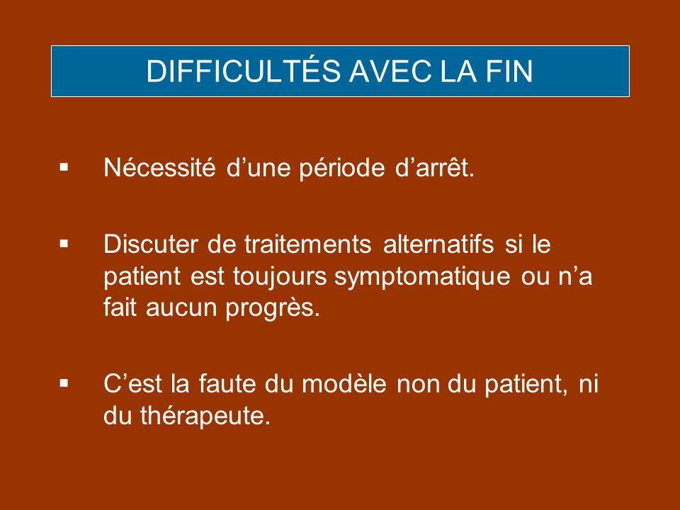 DIFFICULTÉS AVEC LA FIN Nécessité dune période darrêt. Discuter de traitements alternatifs si le patient est toujours symptomatique ou na fait aucun p