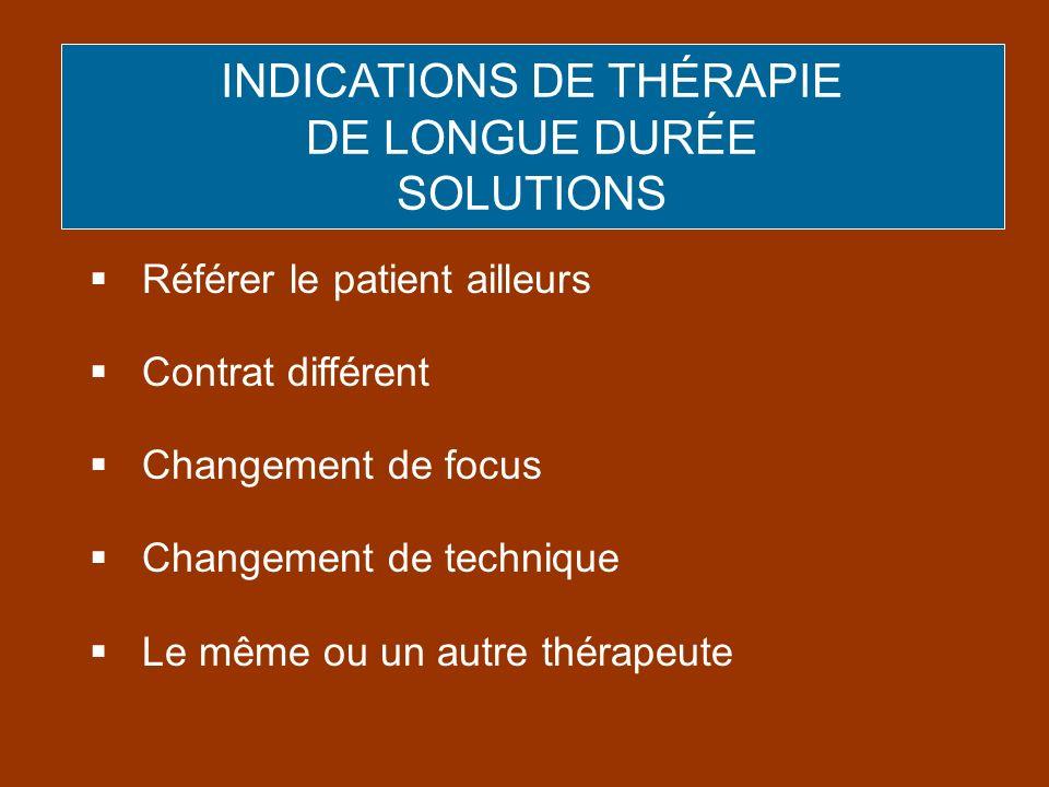 Référer le patient ailleurs Contrat différent Changement de focus Changement de technique Le même ou un autre thérapeute INDICATIONS DE THÉRAPIE DE LO