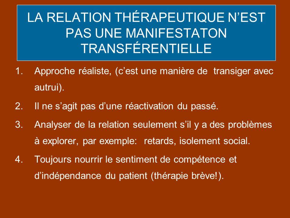 LA RELATION THÉRAPEUTIQUE NEST PAS UNE MANIFESTATON TRANSFÉRENTIELLE 1.Approche réaliste, (cest une manière de transiger avec autrui). 2.Il ne sagit p