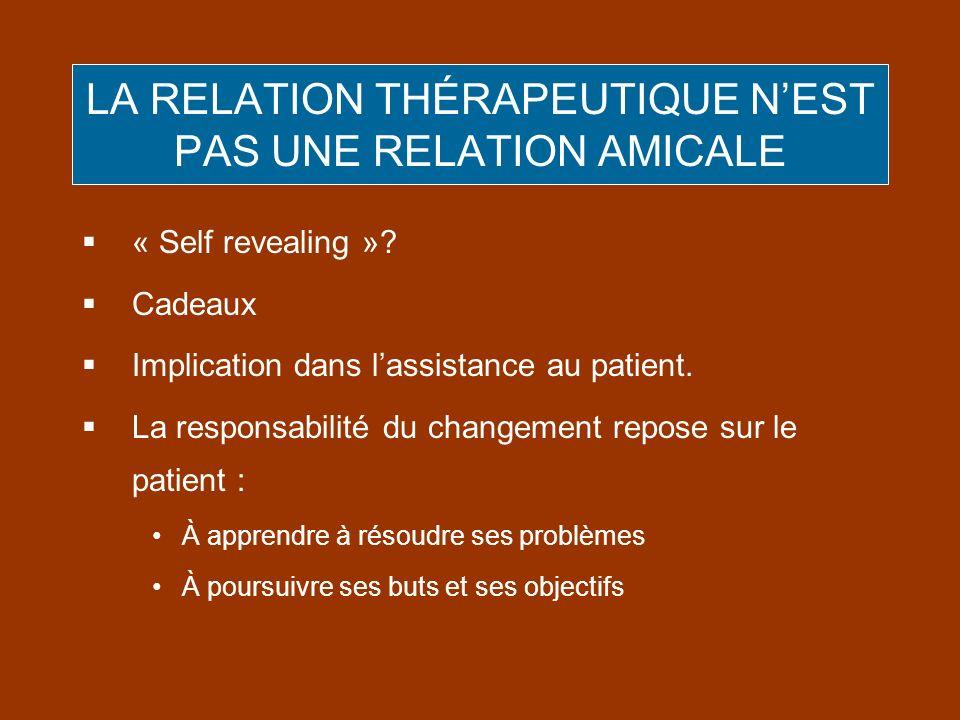 LA RELATION THÉRAPEUTIQUE NEST PAS UNE RELATION AMICALE « Self revealing »? Cadeaux Implication dans lassistance au patient. La responsabilité du chan