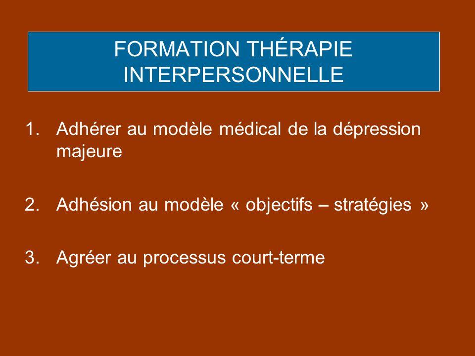 FORMATION THÉRAPIE INTERPERSONNELLE 1.Adhérer au modèle médical de la dépression majeure 2.Adhésion au modèle « objectifs – stratégies » 3.Agréer au p