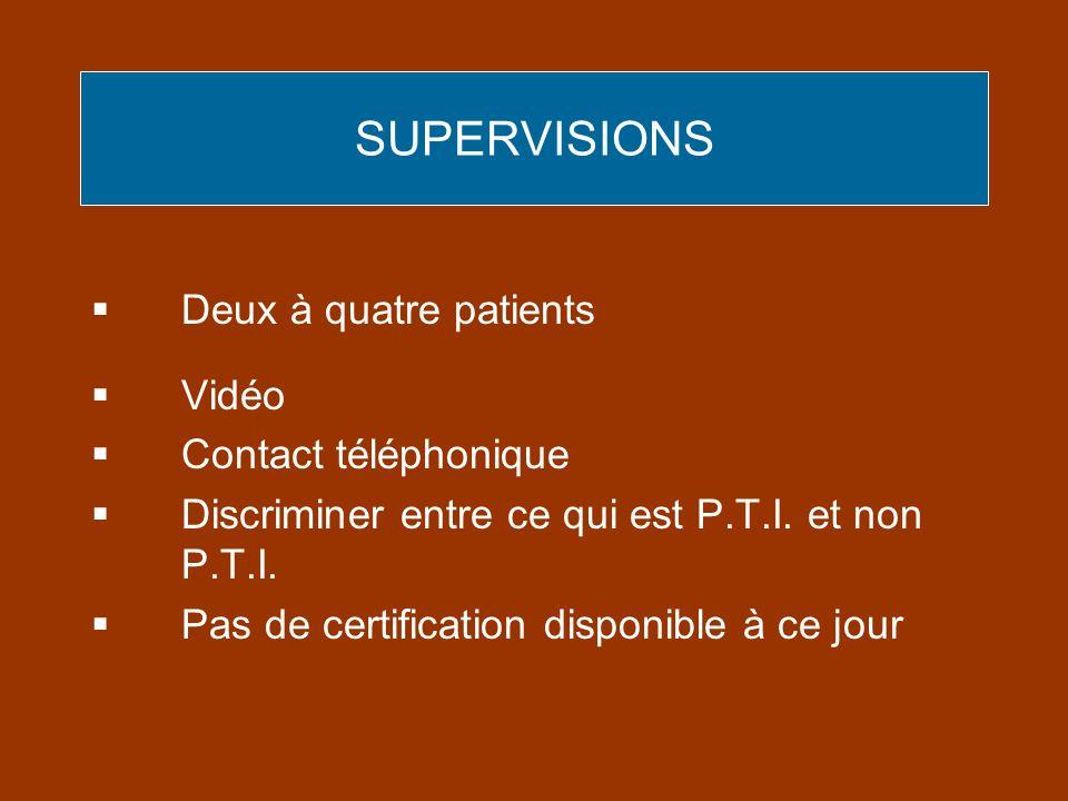 SUPERVISIONS Deux à quatre patients Vidéo Contact téléphonique Discriminer entre ce qui est P.T.I. et non P.T.I. Pas de certification disponible à ce