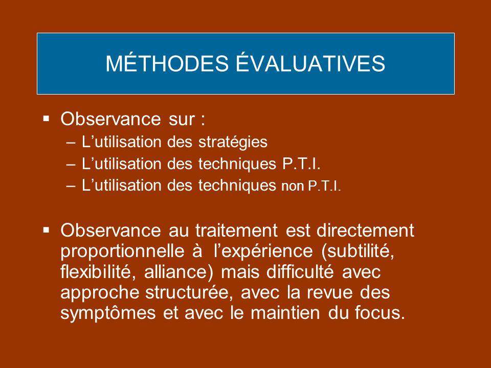 MÉTHODES ÉVALUATIVES Observance sur : –Lutilisation des stratégies –Lutilisation des techniques P.T.I. –Lutilisation des techniques non P.T.I. Observa