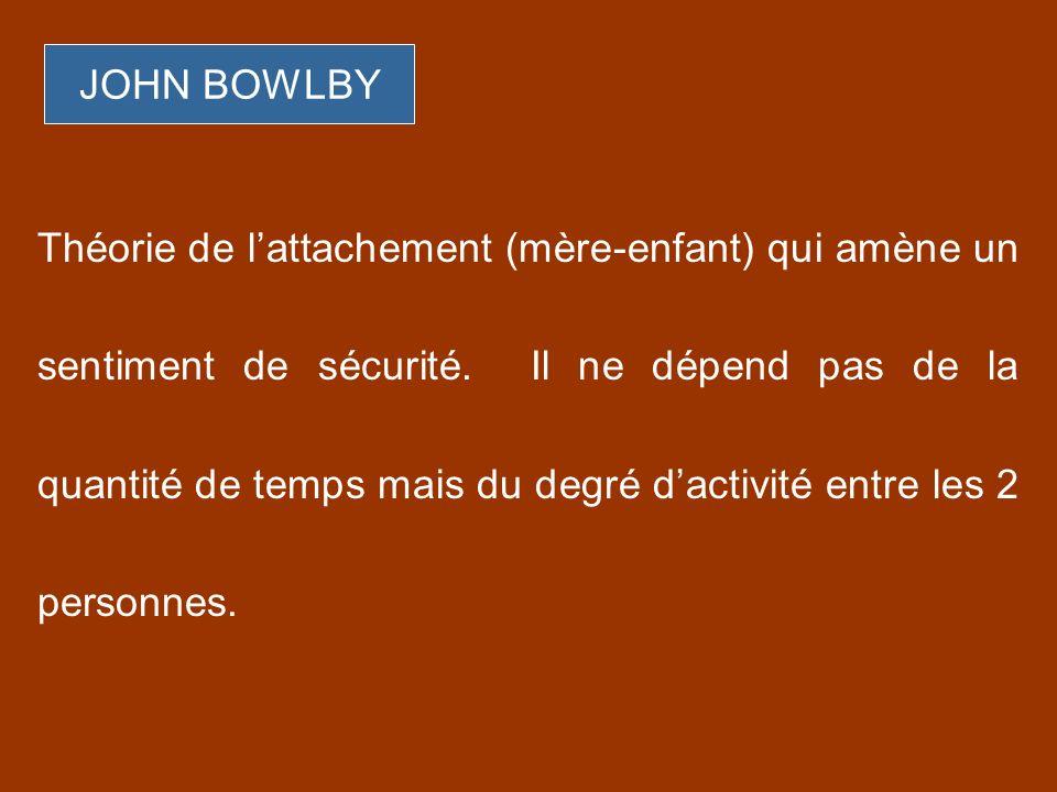 JOHN BOWLBY Théorie de lattachement (mère-enfant) qui amène un sentiment de sécurité. Il ne dépend pas de la quantité de temps mais du degré dactivité