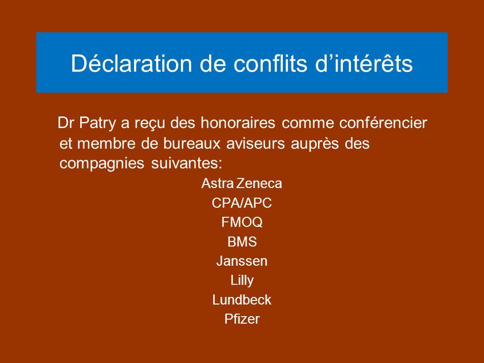 Déclaration de conflits dintérêts Dr Patry a reçu des honoraires comme conférencier et membre de bureaux aviseurs auprès des compagnies suivantes: Ast