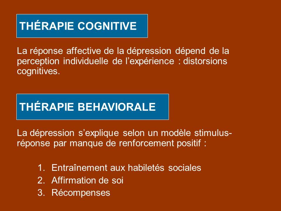 THÉRAPIE COGNITIVE La réponse affective de la dépression dépend de la perception individuelle de lexpérience : distorsions cognitives. THÉRAPIE BEHAVI