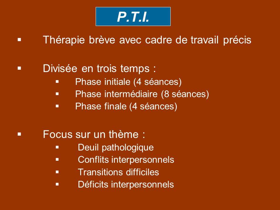 P.T.I. Thérapie brève avec cadre de travail précis Divisée en trois temps : Phase initiale (4 séances) Phase intermédiaire (8 séances) Phase finale (4