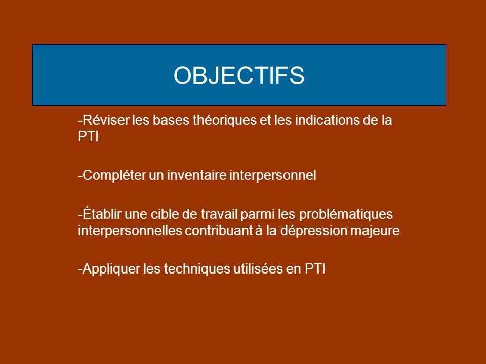 OBJECTIFS -Réviser les bases théoriques et les indications de la PTI -Compléter un inventaire interpersonnel -Établir une cible de travail parmi les p