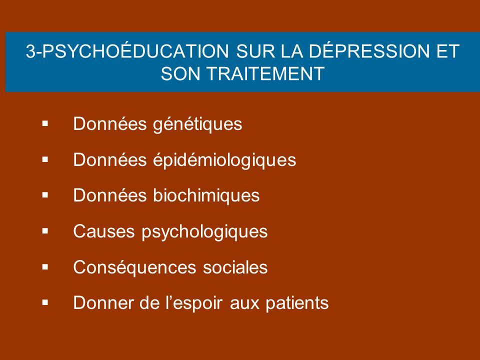 3-PSYCHOÉDUCATION SUR LA DÉPRESSION ET SON TRAITEMENT Données génétiques Données épidémiologiques Données biochimiques Causes psychologiques Conséquen