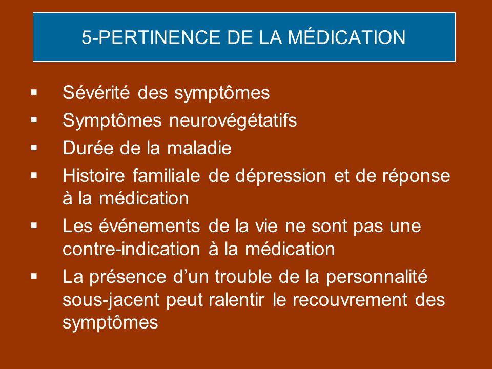 5-PERTINENCE DE LA MÉDICATION Sévérité des symptômes Symptômes neurovégétatifs Durée de la maladie Histoire familiale de dépression et de réponse à la