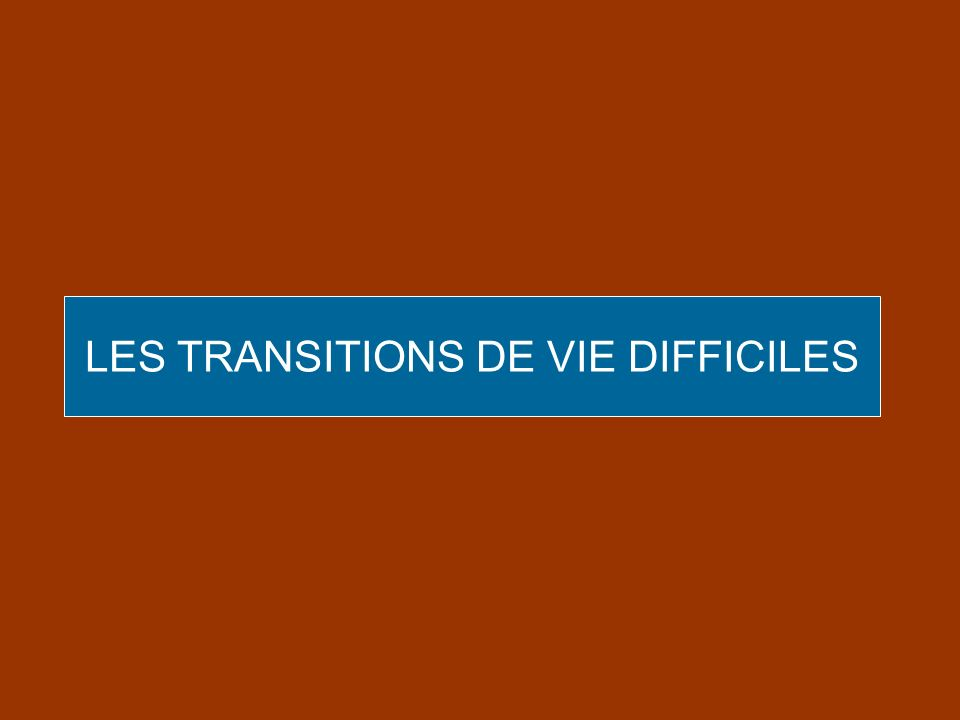 LES TRANSITIONS DE VIE DIFFICILES