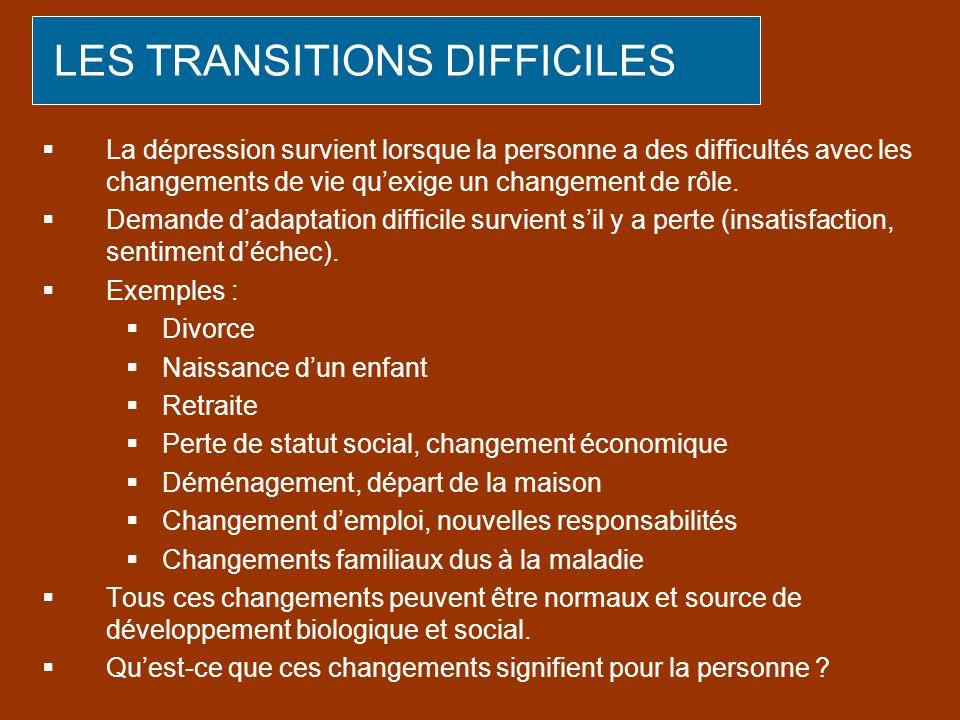 LES TRANSITIONS DIFFICILES La dépression survient lorsque la personne a des difficultés avec les changements de vie quexige un changement de rôle. Dem