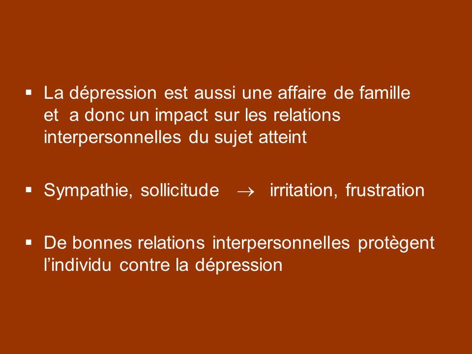 La dépression est aussi une affaire de famille et a donc un impact sur les relations interpersonnelles du sujet atteint Sympathie, sollicitude irritat