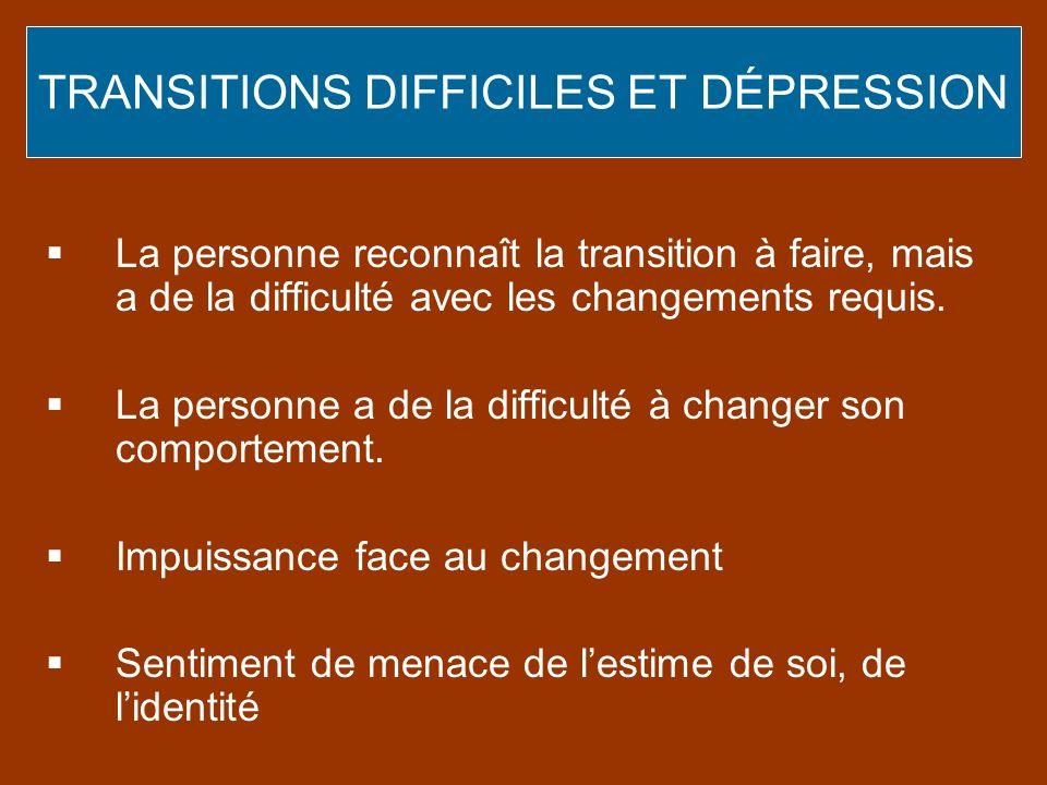 TRANSITIONS DIFFICILES ET DÉPRESSION La personne reconnaît la transition à faire, mais a de la difficulté avec les changements requis. La personne a d