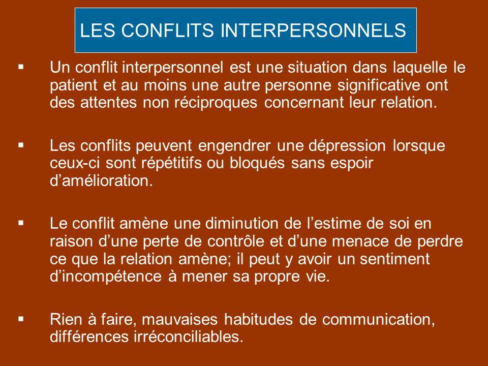 Un conflit interpersonnel est une situation dans laquelle le patient et au moins une autre personne significative ont des attentes non réciproques con
