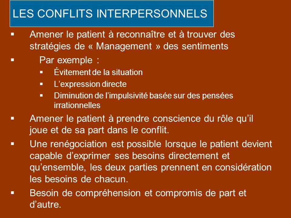 Amener le patient à reconnaître et à trouver des stratégies de « Management » des sentiments Par exemple : Évitement de la situation Lexpression direc