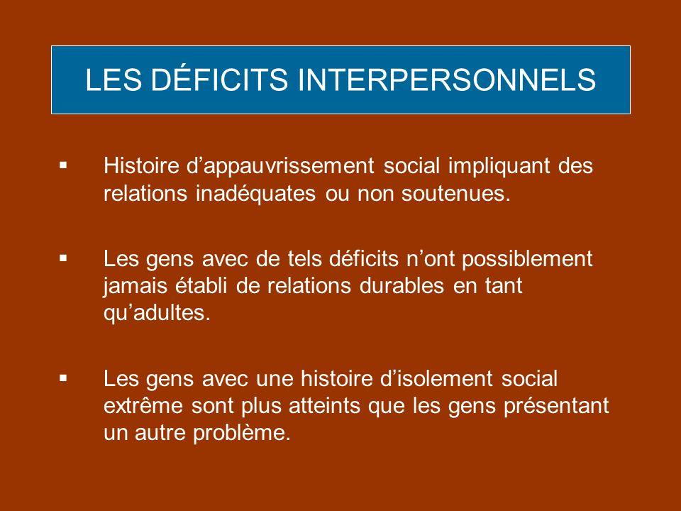Histoire dappauvrissement social impliquant des relations inadéquates ou non soutenues. Les gens avec de tels déficits nont possiblement jamais établi