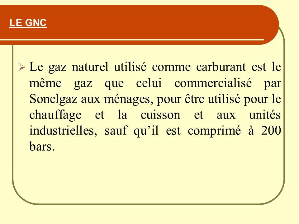 LE GNC Le gaz naturel utilisé comme carburant est le même gaz que celui commercialisé par Sonelgaz aux ménages, pour être utilisé pour le chauffage et