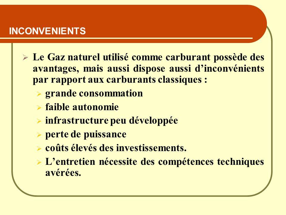INCONVENIENTS Le Gaz naturel utilisé comme carburant possède des avantages, mais aussi dispose aussi dinconvénients par rapport aux carburants classiq