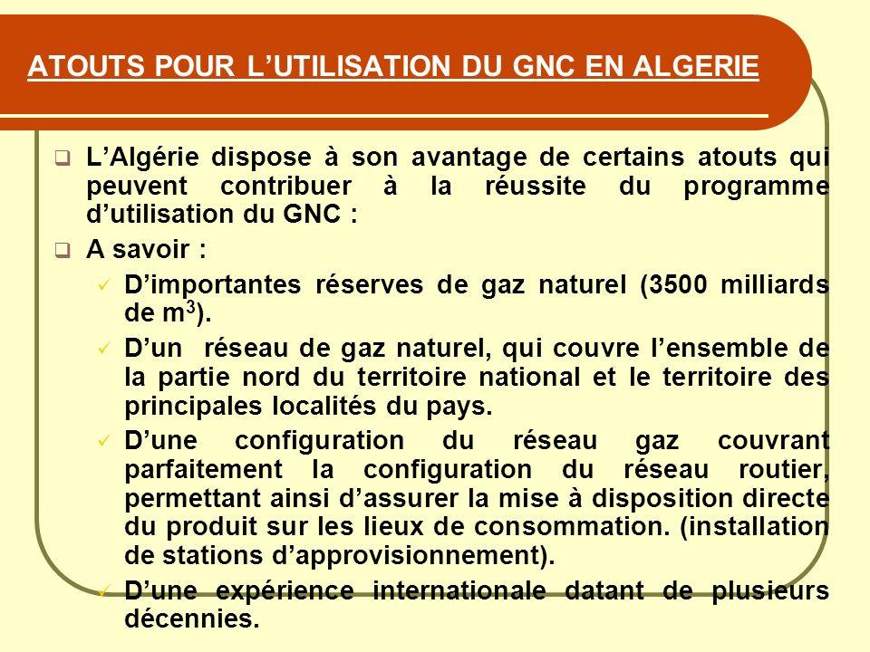 ATOUTS POUR LUTILISATION DU GNC EN ALGERIE LAlgérie dispose à son avantage de certains atouts qui peuvent contribuer à la réussite du programme dutili
