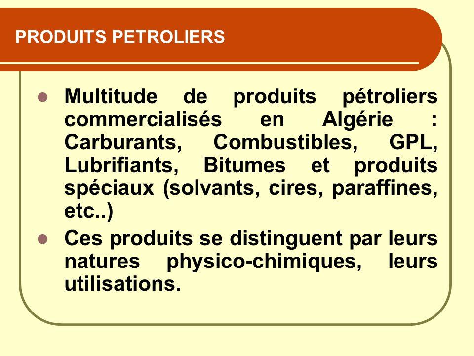 PRODUITS PETROLIERS Multitude de produits pétroliers commercialisés en Algérie : Carburants, Combustibles, GPL, Lubrifiants, Bitumes et produits spéci