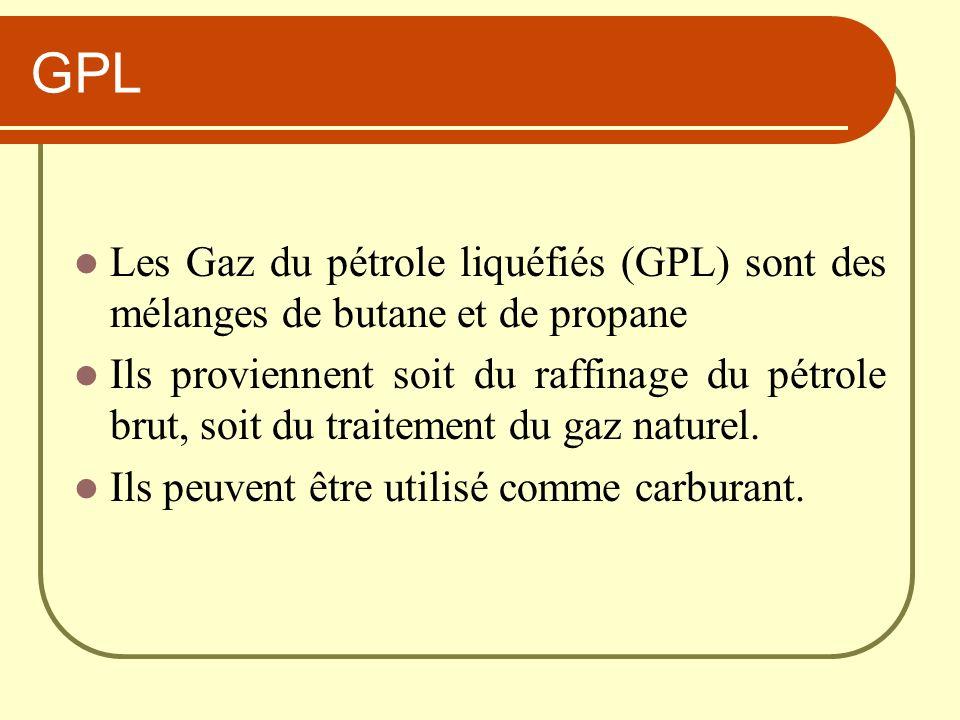 GPL Les Gaz du pétrole liquéfiés (GPL) sont des mélanges de butane et de propane Ils proviennent soit du raffinage du pétrole brut, soit du traitement